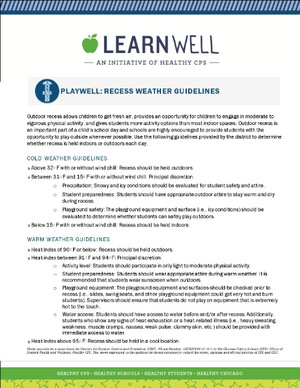 Playwell: Recess Weather Guidelines